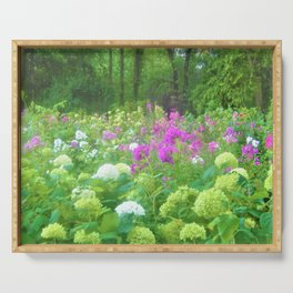Annabella Hydrangeas and Purple Garden Landscape Serving Tray