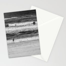 Beach North Sea Lonely Swimmer Girl Denmark Hvide Sande bw Stationery Cards