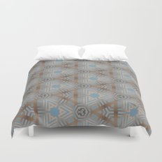 Beige and Blue Contemporary Tribal Pattern Duvet Cover