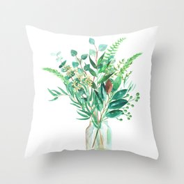 greenery in the jar Throw Pillow