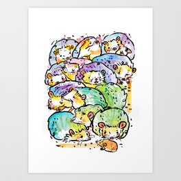 Hedgehog family Art Print