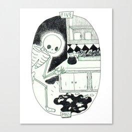 Five of Mugs Skeleton Tarot Canvas Print