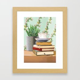 Tea and book love Framed Art Print