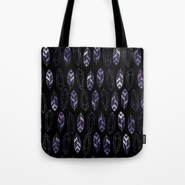 Purple Feathers and Gems on Black Pattern Tote Bag