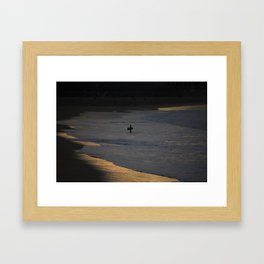 Bodyboarder at sunset. Framed Art Print