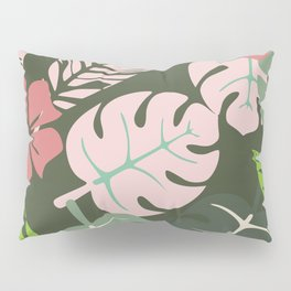 Tropical leaves green and pink paradises Pillow Sham