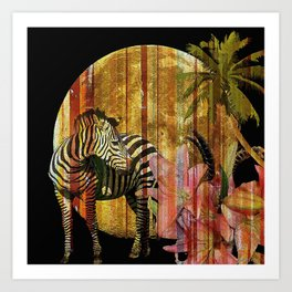 Zebras Lilies and a Harvest Moon Art Print
