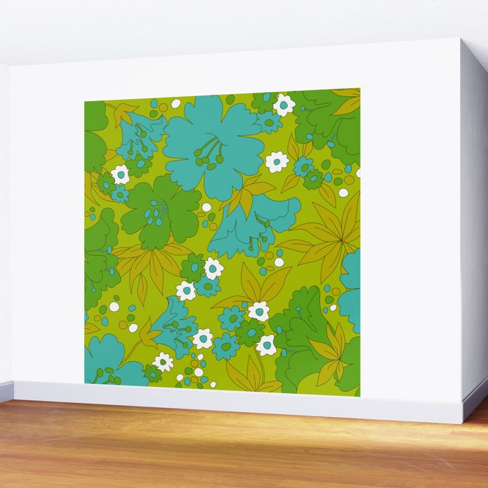 Green, Turquoise, and White Retro Flower Design Pattern Wall Mural