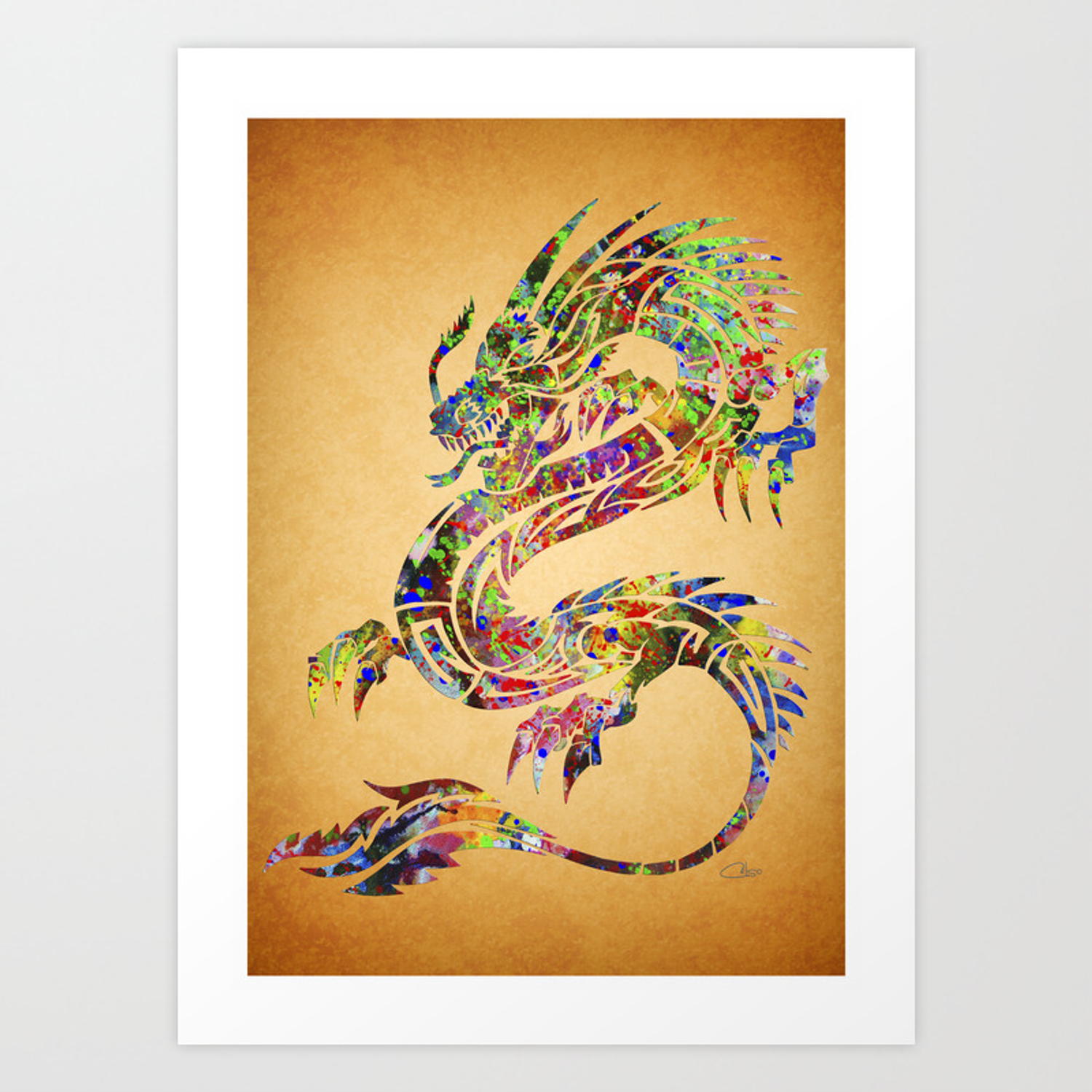 Chinese Dragon Watercolor Art Print By Celsomaria Society6