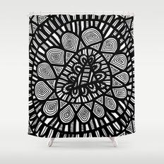 Black and White Doodle 7 Shower Curtain