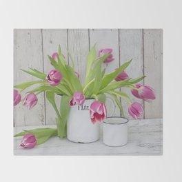 pink spring tulip still life country style Throw Blanket