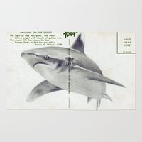 postcard Area & Throw Rugs featuring Postcard Shark by Sarah Sutherland