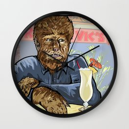 Wolfman drinking a pina colada at Trader Vics. Wall Clock
