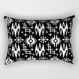 Mid Century Modern Atomic Space Age Pattern Black And White Rectangular Pillow