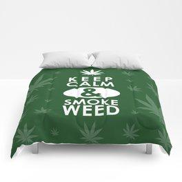 """Keep Calm and Smoke Weed"" Comforters"