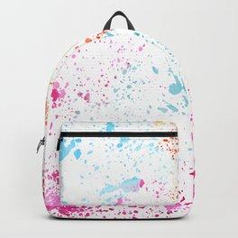 Hand painted pink teal orange watercolor paint splatters Backpack