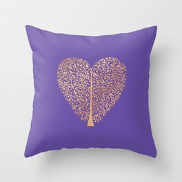 Rose Gold Foil Tree of Life Heart Throw Pillow