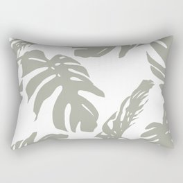 Simply Retro Gray Palm Leaves on White Rectangular Pillow