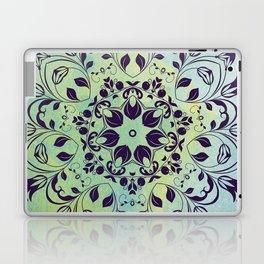 FLOURISH PURPLE AND BLUE WATERCOLOR MANDALA  Laptop & iPad Skin