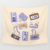 cassette Wall Tapestries featuring Audio cassette by Katyau
