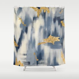 Blue and Gold Ikat Pattern Abstract Shower Curtain