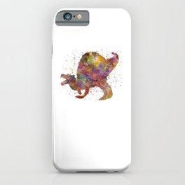 Spinosaurus dinosaur in watercolor iPhone Case