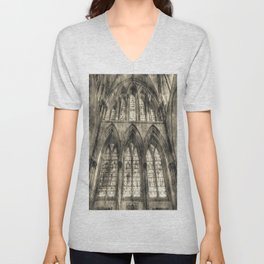 Rochester Cathedral Stained Glass Windows Vintage Unisex V-Neck