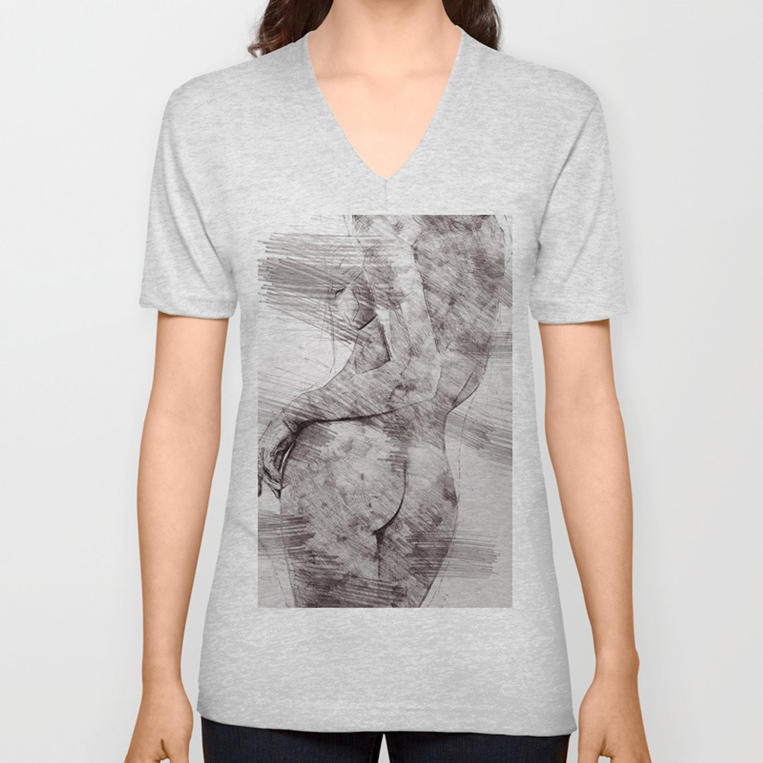 Nude woman pencil drawing unisex v neck by annsp society6