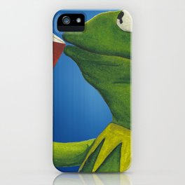 Painted Meme Frog Drinking Tea but it's none of my business iPhone Case