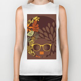 Afro Diva : Sophisticated Lady Retro Brown Biker Tank