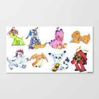 digimon Canvas Prints featuring Digimon Group by Catus