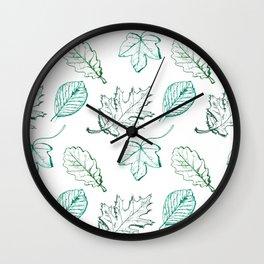 Leaves (aquamarine) Wall Clock