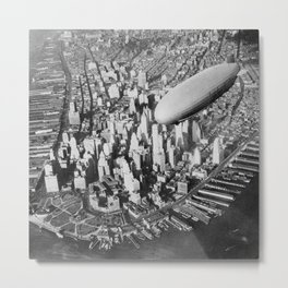 USS Akron in flight over Manhattan skyscrapers black-and-white photograph Metal Print