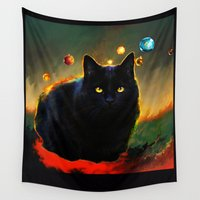 black cat Wall Tapestries featuring black cat by ururuty