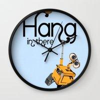 pixar Wall Clocks featuring Pixar/Disney Wall-e Hang in There by Teacuppiranha