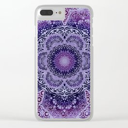 Lilac Boho Brocade Mandala Clear iPhone Case