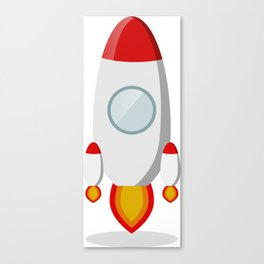 The rocket takes off isolated on a white background Canvas Print