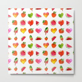 Cute colorful watercolor with hearts, watermelons, strawberries Metal Print