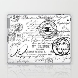 Vintage handwriting black and white Laptop & iPad Skin