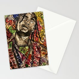 La flame,travis,music,hiphop,poster,astro world,tour,wall art,artwork,painting,colourful Stationery Cards