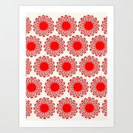 vintage flowers red Art Print