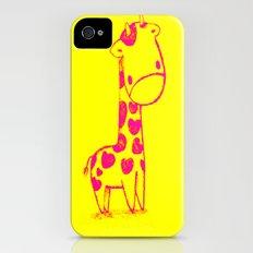 Pink Cute Giraffe Slim Case iPhone (4, 4s)