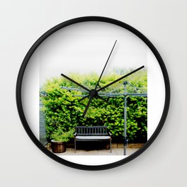 Bench in Overcast Wall Clock