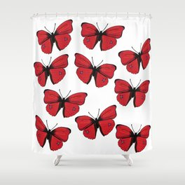 Red butterfly Spring Art Shower Curtain