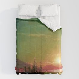 Sunrise in Feodosia on the Black Sea by Ivan Aivazovsk Comforters