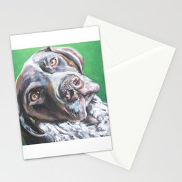 GSP German Shorthaired Pointer dog portrait art from an original painting by L.A.Shepard Stationery Cards