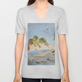 Salvador dali Dream caused by the flight of a bee around a pomegranate one second before waking up Unisex V-Neck