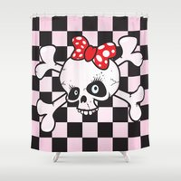 girl power Shower Curtains featuring girl power skull by mangulica illustrations