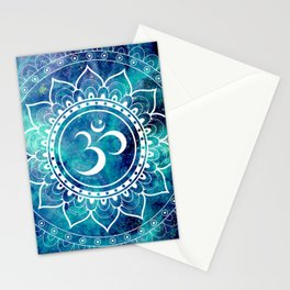 Galaxy Om Mandala Aqua Midnight Blue Stationery Cards