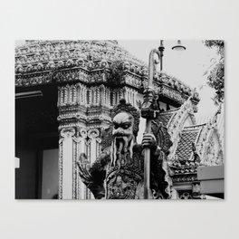 The Stone Guardians of Wat Pho, Bangkok, Thailand. B/W. Canvas Print